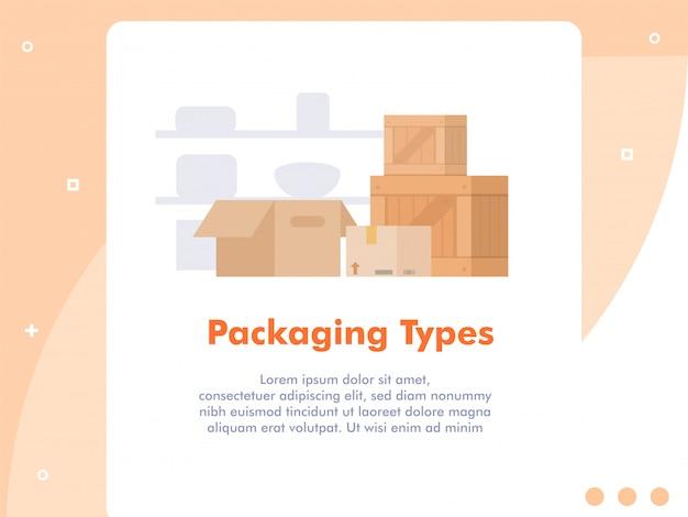 Pakujący pudełko typ pojęcia mieszkania ilustracyjny styl