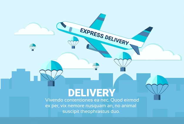 Pakuje latających spadochronów samolotowego rozładunek ekspresowej szybkiej paczki doręczeniowej usługa pojęcie