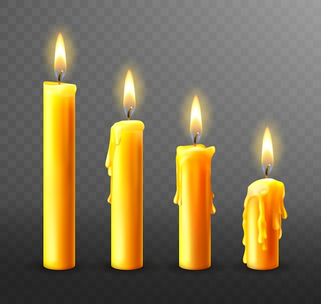Palące się świece, ociekający woskiem