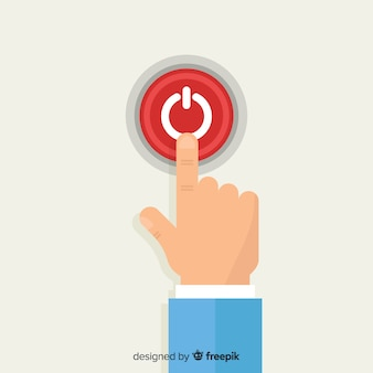 Palec naciskając czerwony przycisk start w płaskiej konstrukcji