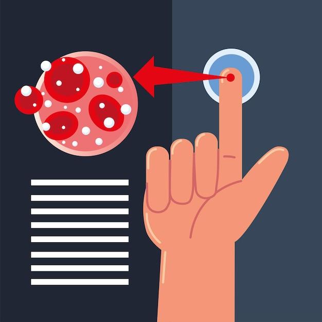 Palec próbki krwi cukrzycy