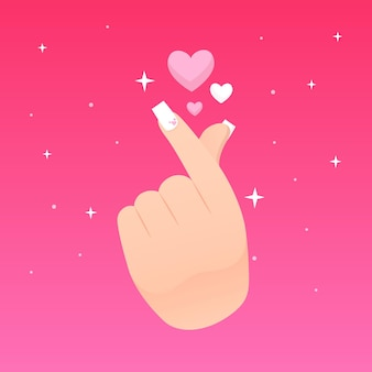 Palec serce i błyszczące gwiazdy
