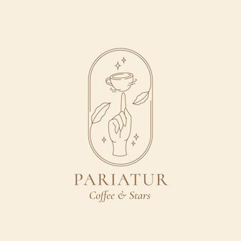 Palec skręcony kubek kawy w ramce z liśćmi i gwiazdami streszczenie modny minimalny liniowy szablon logo