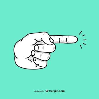Palec wskazujący kierunek doodle