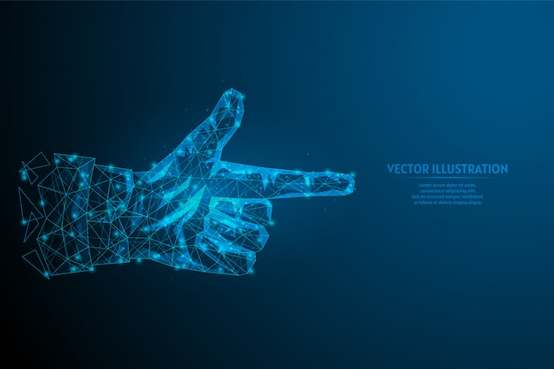 Palec wskazujący z bliska człowieka. gest ręki. koncepcja pomysłu na innowacyjny biznes, technologię, medycynę. 3d model szkieletowy low poly ilustracja.