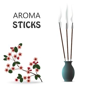 Pałeczki trzcinowe dymu aromatycznego w ceramicznej niebieskiej butelce na białym tle. ilustracja wektorowa aromaterapii sakura.