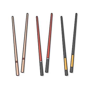 Pałeczki zestaw różnych typów ikona ilustracja zestaw ikon