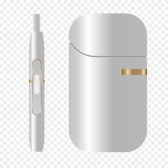 Palenie, białe urządzenie, ogrzewanie systemu tytoniowego. ikona papierosa elektronicznego dymu iqos. realistyczna ilustracja