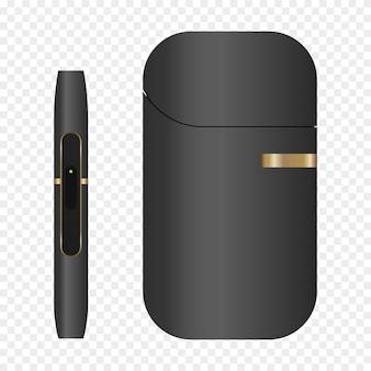Palenie, białe urządzenie, ogrzewanie systemu tytoniowego. papierosy elektroniczne