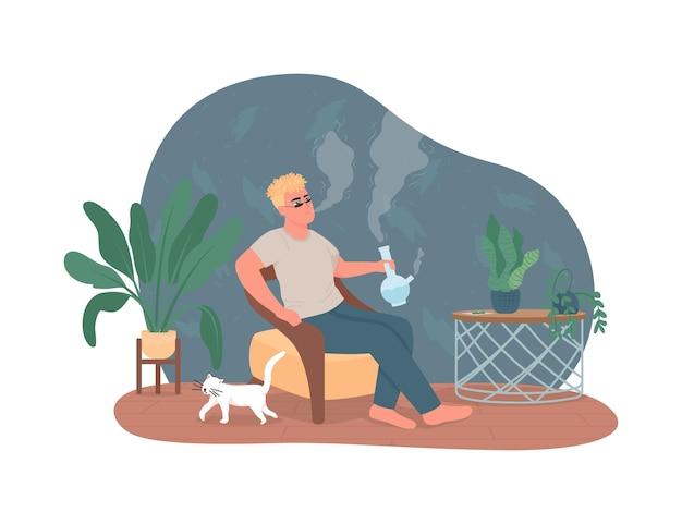 Palenie bonga z konopi w sieci 2d,
