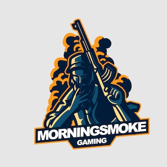 Palenie facet trzyma riffle e-sport hazard maskotka szablon logo