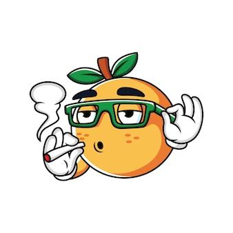 Palenie pomarańczowy kreskówka z wyrazem relaksu