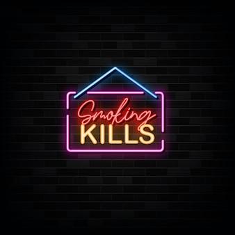 Palenie zabija wektor neonów