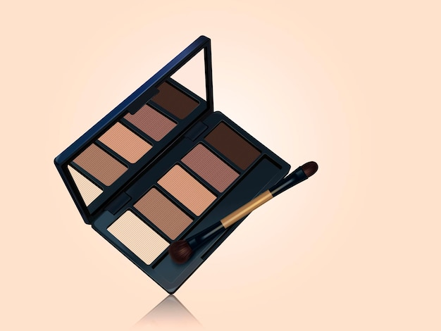 Paleta cieni do powiek, izolowane narzędzia do makijażu w odcieniach brązu