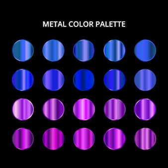 Paleta kolorów metalowych. niebieska fioletowa stalowa tekstura