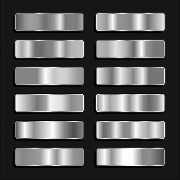Paleta kolorów srebrno-tytanowo-żelaznych metaliczny gradient
