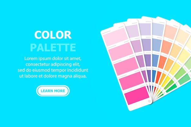 Paleta kolorów znajduje się po prawej stronie, a tekst i przycisk po lewej stronie. na niebiesko