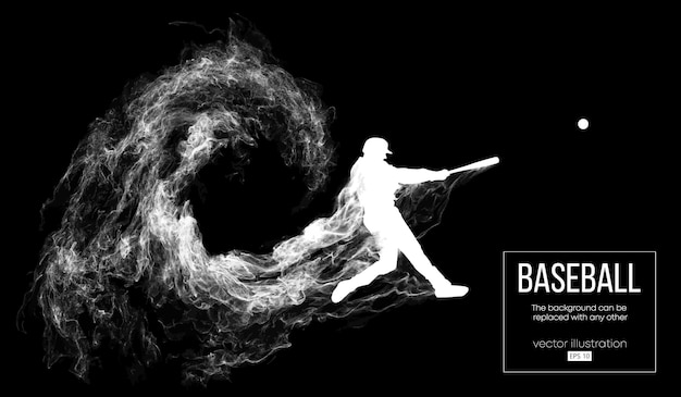 Pałkarz gracza baseballu uderza piłkę. tło można zmienić na dowolne inne