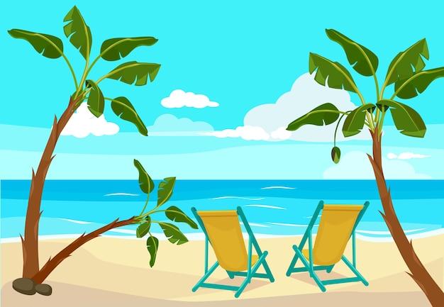 Palma na plaży. lato w tle nadmorski tropikalny krajobraz ilustracje. nadmorska plaża tropikalne lato, morze egzotyczne wakacje