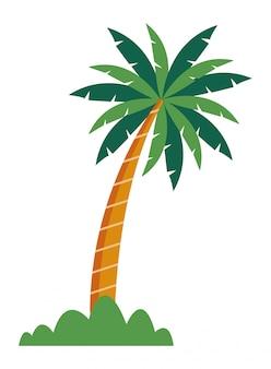 Palmowe drzewo z krzakiem ikona kreskówka