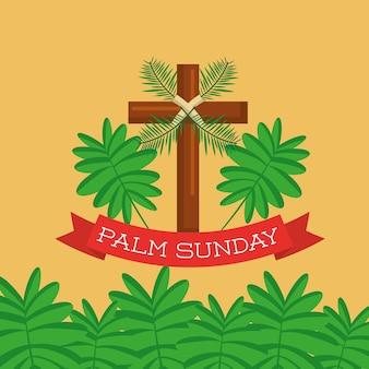 Palmowy niedziela kartka z pozdrowieniami krzyża gałąź chrześcijański świętowanie