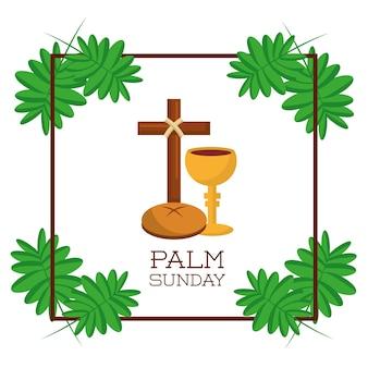 Palmowy niedziela karty zaproszenia świętowanie religijny