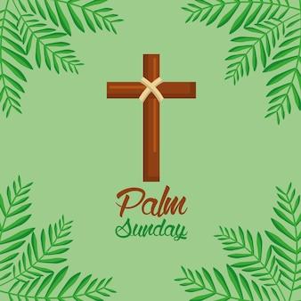 Palmowy niedziela krzyż i frond zielony tło