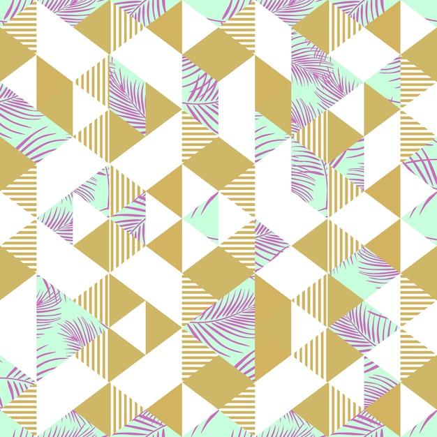 Palmowych liści kolorowy bezszwowy wzór z trójbokiem