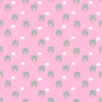 Palmy i zachody słońca różowy wzór