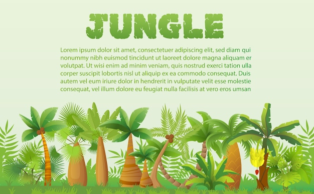 Palmy tropikalne z innymi tropikalnymi roślinami egzotycznymi transparent krajobraz