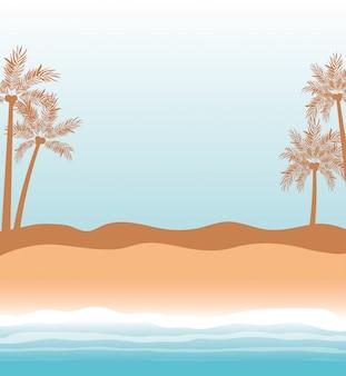 Palmy w sezonie letnim projekt tło