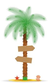 Palmy z dwóch wayfinding ilustracji wektorowych znak