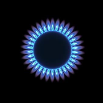 Palniki gazowe, niebieski płomień, widok z góry na przezroczystym tle. piec z palącym się gazem.