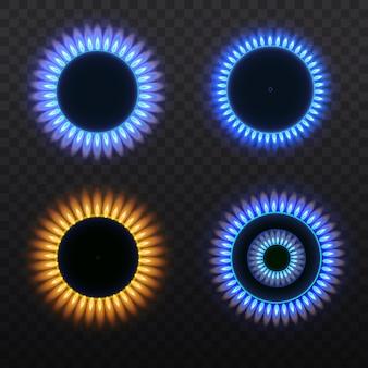 Palniki gazowe, niebieski płomień, widok z góry na przezroczystym tle. piec z płonącym gazem.