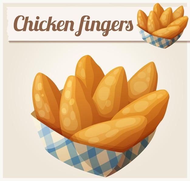 Paluszki z kurczaka w koszyku papieru szczegółowe wektor ikona