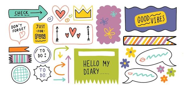 Pamiętnik kula słodkie elementy obramowania dziennika uwaga ikona naklejki dla szkoły ilustracji wektorowych
