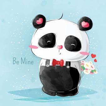 Pan pando przynosi kwiat