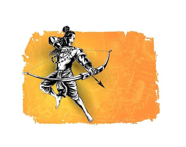Pan rama ze strzałą zabijającą ravanę w festiwalu navratri w indiach plakat z hindi tekstem dassehra