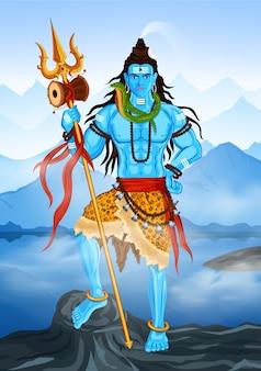 Pan shiva, shankar stojący w himalajach, happy mahashiv ratri, om namah shivay