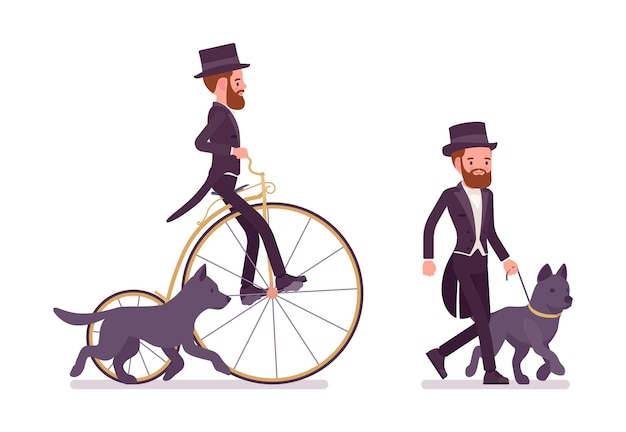Pan w czarnej marynarce smokingowej na rekreacyjnym spacerze z psem