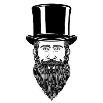 Pan w kapeluszu vintage. element plakatu, karty, godła, znaku. ilustracja