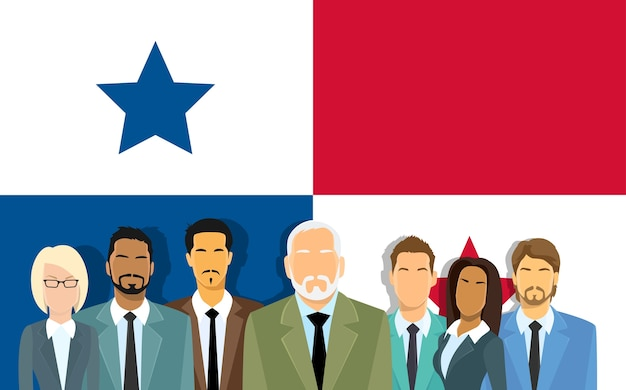 Panama flag senior businessmen group