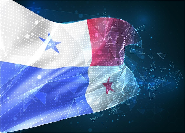 Panama, flaga wektorowa, wirtualny abstrakcyjny obiekt 3d z trójkątnych wielokątów na niebieskim tle