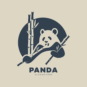 Panda Bear Sylwetka Logo Szablon Projektu Logo Koncepcja Ikona Premium Wektorów