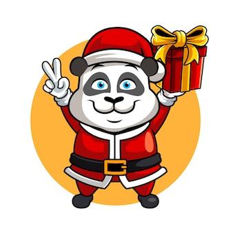 Panda christmast, zabawna ilustracja wektorowa maskotka