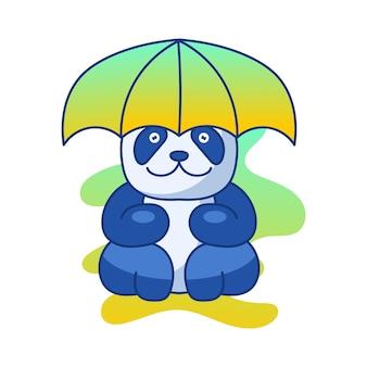 Panda cute ilustracja maskotka logo znak