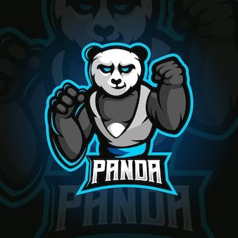 Panda e-sport maskotka ilustracja projekt logo