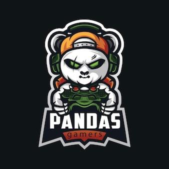Panda gamer esport maskotka kreskówka szablon wektor logo