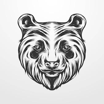 Panda głowa na białym tle wektor ilustracja vintage klasyczny, stary styl. nadaje się do koszulek, nadruków, logo i innych produktów odzieżowych