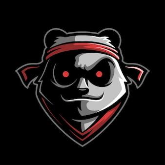 Panda głowa zwierzęcia kreskówka logo szablon ilustracja esport logo gaming premium vector